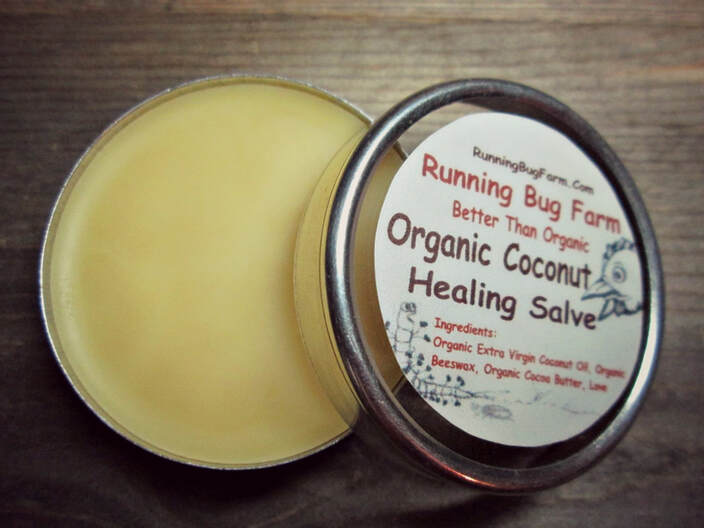 Make your own organic non gmo healing cooconut hard salve using only three totally natural ingredients!  We give you simple guidelines and steps.  You will have your very own salve for personal use & gifts in less than an hour!