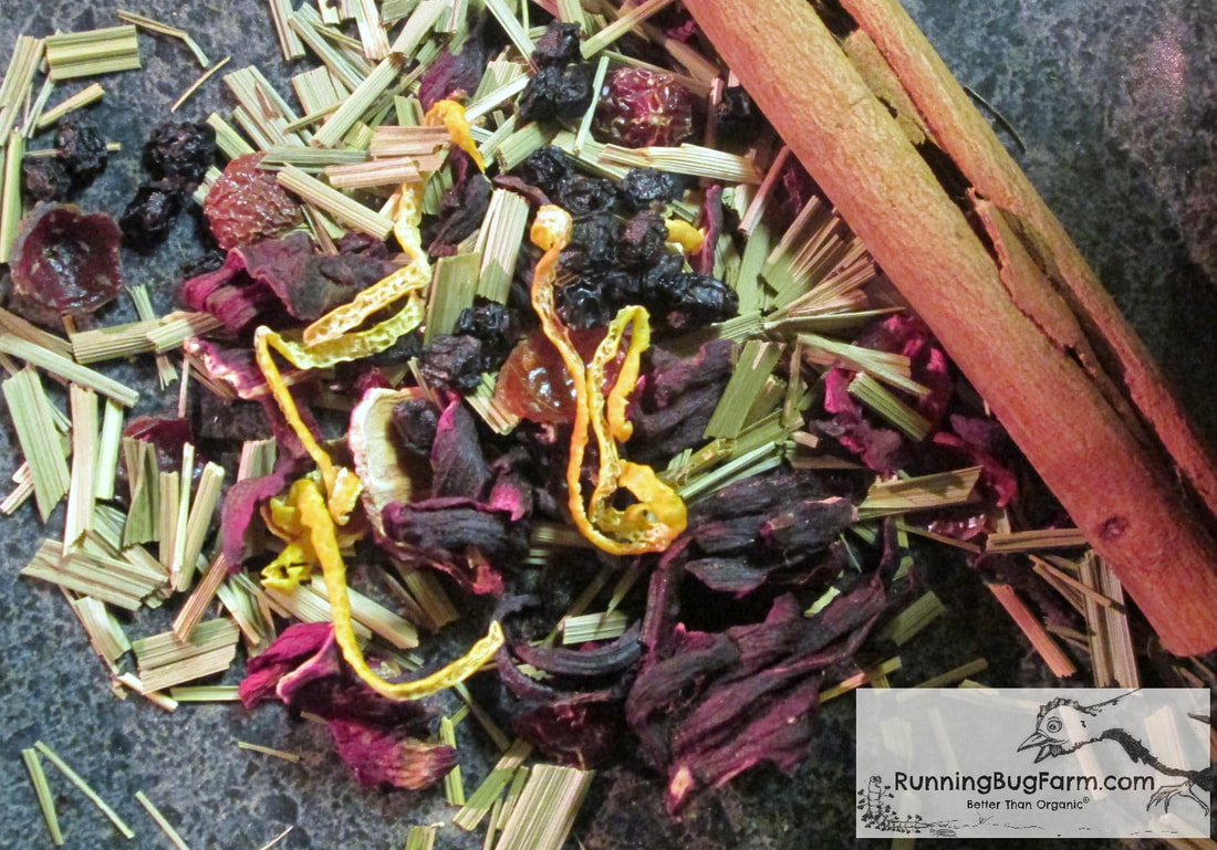 Loose leaf, caffine free herbal tea is easy to make.  We show you how to use real wholesome organic ingredients such as elderberries, rose hips, cinnamon, and hibiscus to create a stunning red zinger tea that is naturally rich in vitamin c, no pills needed!