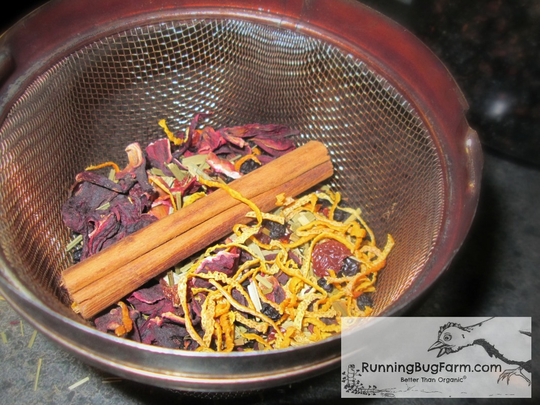 Herbal infusions are easy to make.  Here we show you how to make a lovely hibiscus tea using rose hips, orange peel, cinnamon and lemon grass for a deliciously refreshing iced tea.